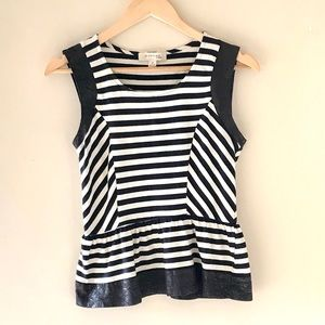 Monteau black and white striped top - size Med